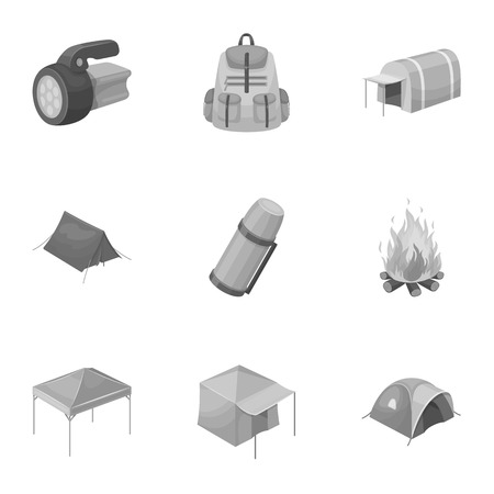 Various kinds of tents and other tourist accessories. The tent set collection icons in monochrome style vector symbol stock illustration web.