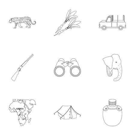 thirsty: Rifle, mask, map of the territory, diamonds and other equipment. African safari set collection icons in outline style vector symbol stock illustration web.