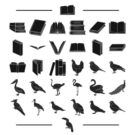 cormorant: institute, school, training and other web icon in black style.house, library, shop icons in set collection. Illustration