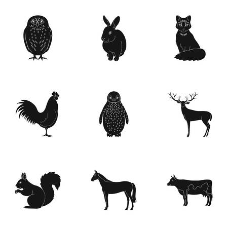 Deer, tiger, cow, cat, rooster, owl and other animal species.Animals set collection icons in black style vector symbol stock illustration web. Illustration