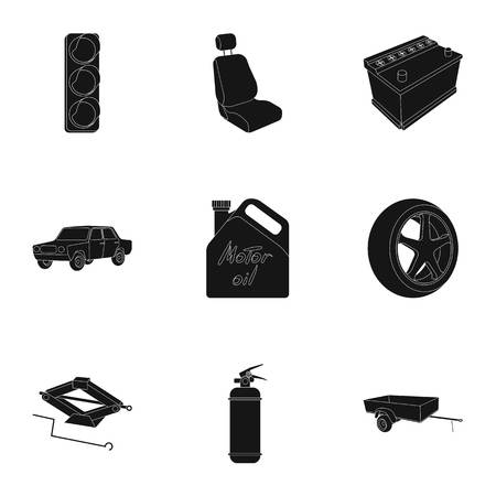 prohibiting: Wheel, wrench, jack and other equipment. Car set collection icons in black style vector symbol stock illustration web. Illustration