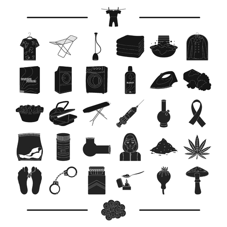 hangers: drug addiction, law and other web icon in black style., cleaning, hygiene, health, icons in set collection.