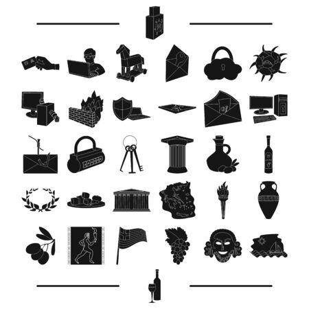 encoding: history, tourism, winemaking and other web icon in black style.wine, wine glass, icons in set collection. Illustration