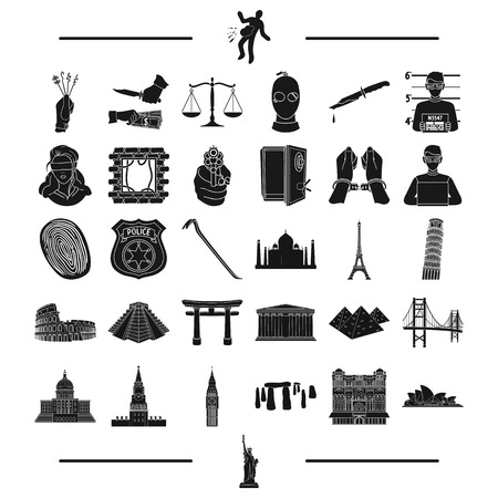 law, Bank, police and other web icon in black style. travel, history, rest, icons in set collection. Illustration