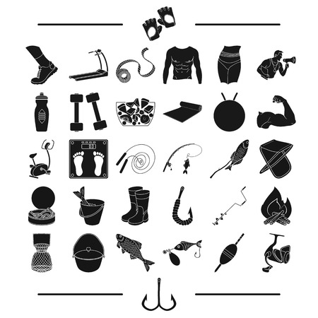fishing, hunting, recreation and other web icon in black style. sport, health, competitions icons in set collection. Иллюстрация
