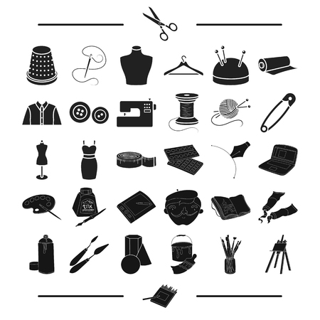 drawing pin: accessories, atelier, repair and other web icon in black style. tools, technique, textiles, icons in set collection. Illustration