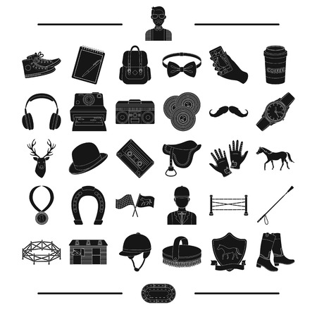 horse care: medal, media, information and other web icon in black style.care, accessories, equipment, icons in set collection.