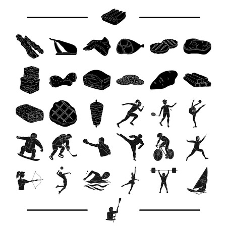 chop: food, sports, jealous and other web icon in black style.mittens, boat, cyclist icons in set collection.