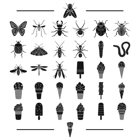 Entertainment, insects, nature and other web icon in black style. filler, dessert, sweetness, icons in set collection. Illustration