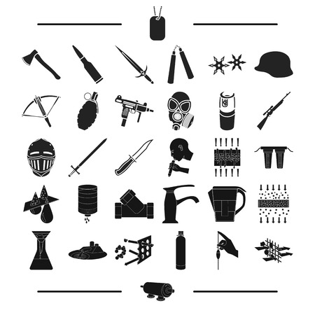 weapons, army, uniform and other web icon in black style.mesh, bolt, Tools, icons in set collection.