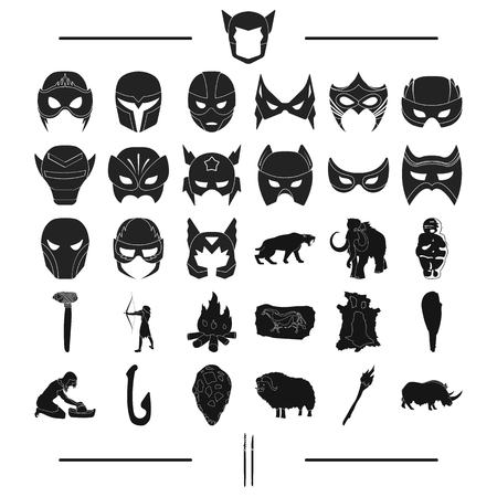 attributes, primitive, century and other web icon in black style., animals, history, art, icons in set collection.