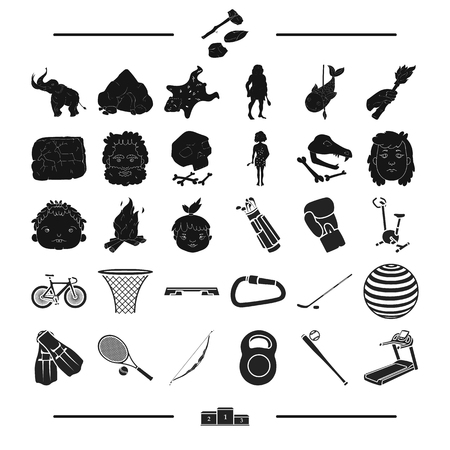 stopped: sports, attributes, transport and other web icon in black style.place, competition, training, icons in set collection. Illustration