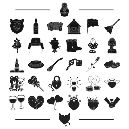 attributes, tools, musical and other web icon in black style.tourism, nationality, toys, icons in set collection. Stock Photo