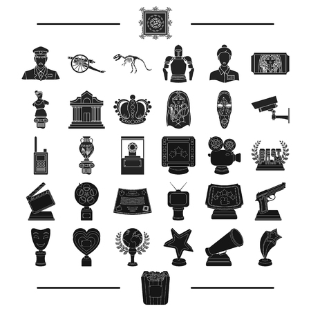 antiquity: ancient, museum, antiquity and other web icon in black style.gifts, history, products, icons in set collection. Illustration