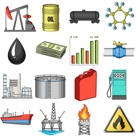 price drop: Oil rig, pump and other equipment for oil recovery, processing and storage.Oil set collection icons in cartoon style vector symbol stock illustration web.