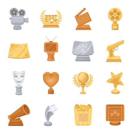 theatre masks: Camera, shout, Globe, objects for rewarding films.Movie Awards set collection icons in cartoon style vector symbol stock illustration web.