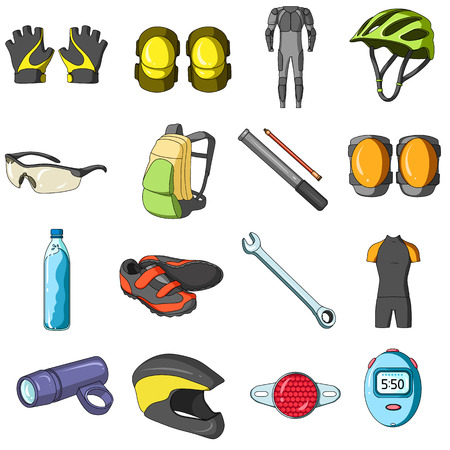 elbow pads: Gloves, suit, helmet, sneakers and other equipment. Cyclist outfit set collection icons in cartoon style vector symbol stock illustration web.