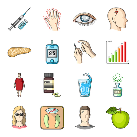 excess: Insulin, sugar, level, analysis, diet and other attributes. Diabetes set collection icons in cartoon style vector symbol stock illustration web. Illustration