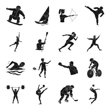 Hockey, tennis, boxing sports included in the Games.  sport set collection icons in black style vector symbol stock illustration web.
