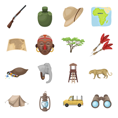 Rifle, mask, map of the territory, diamonds and other equipment. African safari set collection icons in cartoon style vector symbol stock illustration web.
