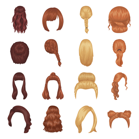 hairdo: Quads, blond braids and other types of hairstyles. Back hairstyle set collection icons in cartoon style vector symbol stock illustration web. Illustration