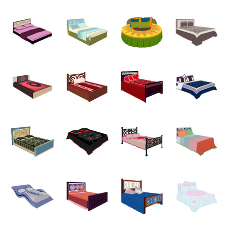 A bed with a back, round, curved and other kinds of the goods. Beds set collection icons in cartoon style vector symbol stock illustration web. Illusztráció