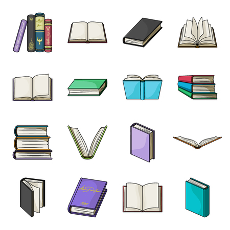 magazine design: Books set icons in cartoon style. Big collection of books vector symbol stock illustration