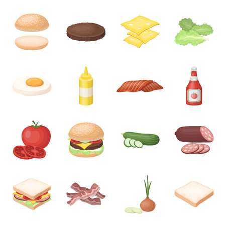 Rolls, cutlets, cheese, ketchup, salad, and other elements. Burgers and ingredients set collection icons in cartoon style vector symbol stock illustration web.