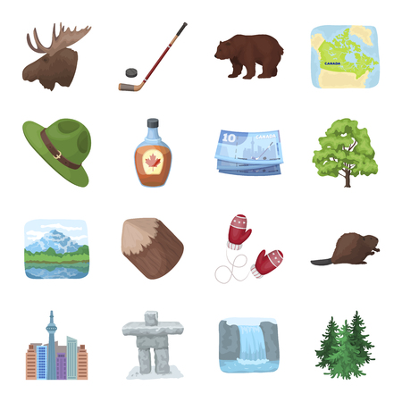 ranger: Wild animal, deer, horns and other Canada elements. Canada set collection icons in cartoon style vector symbol stock illustration web. Illustration
