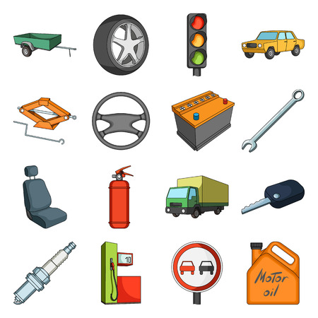 motor car candles: Wheel, wrench, jack and other equipment. Car set collection icons in cartoon style vector symbol stock illustration web. Illustration