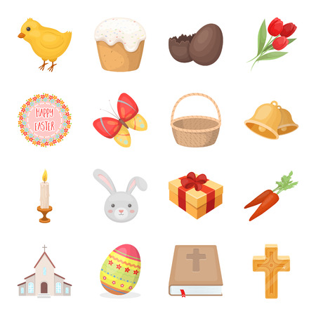Easter cake, egg, chicken, rabbit, butterfly and other attributes. Easter set collection icons in cartoon style vector symbol stock illustration web.