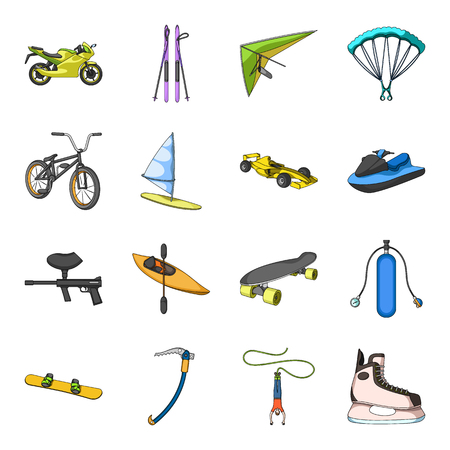 Motorcycle racing, downhill skiing, jumping, parachuting and other sports. Extreme sports set collection icons in cartoon style vector symbol stock illustration web. Illustration