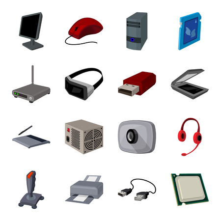 Personal computer accessories set icons in cartoon style. Big collection of personal computer accessories vector symbol stock illustration
