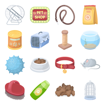 carding: Collar, pet food and other products. Pet shop set collection icons in cartoon style vector symbol stock illustration web.