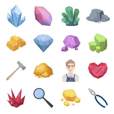貴重な鉱物と宝石は、漫画のスタイルでアイコンを設定します。貴重な鉱物や宝石商ベクトル シンボル ストック イラストの大きなコレクション