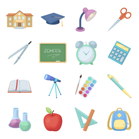 A book, a telescope, a pen, items for schooling.School And Education set collection icons in cartoon style vector symbol stock illustration web.