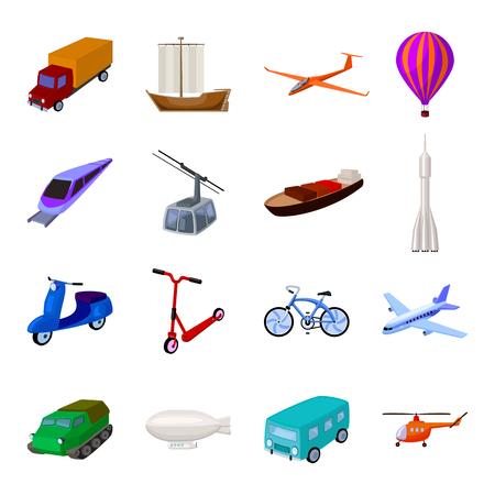 Yate, funicular, transporte de metro para el transporte de pasajeros y carga. Transporte Conjunto de iconos de colección en estilo de dibujos animados símbolo de vectores stock photography web.