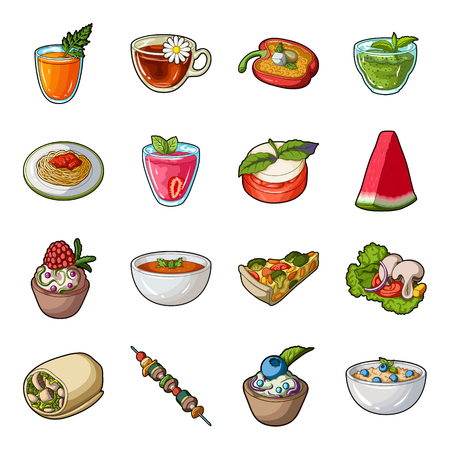 broth: Juice, pizza, berries are vegetarian dishes.Vegetarian Dishes set collection icons in cartoon style vector symbol stock illustration web. Illustration
