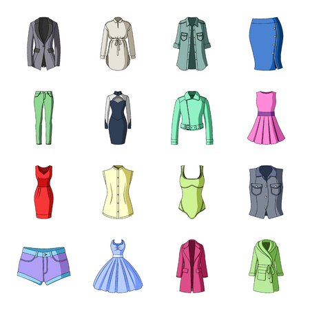 midi: Dress, sarafan, coats of womens clothing. Womens clothing set collection icons in cartoon style vector symbol stock illustration web.