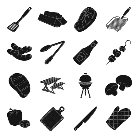 grill tongs sausage: Meat, steak, firewood, grill, table and other accessories for barbecue.BBQ set collection icons in black style vector symbol stock illustration web. Illustration