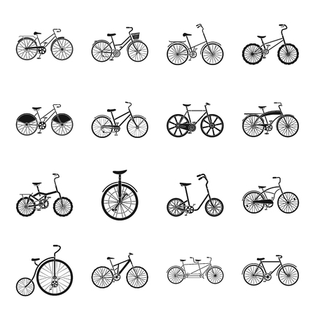 Different models of bicycles. Different bicycle set collection icons in black style vector symbol stock illustration web.