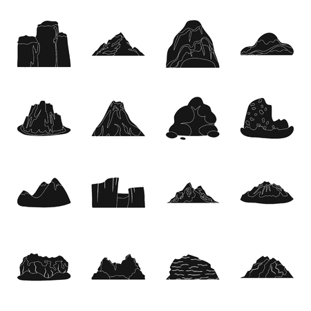 Rock, peak, volcano, and other kinds of mountains. Different mountains set collection icons in black style vector symbol stock illustration web. Illusztráció