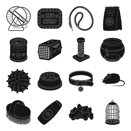 carding: Collar, pet food and other products. Pet shop set collection icons in black style vector symbol stock illustration web.