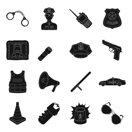 detainee: Police set icons in black style. Big collection of police vector symbol stock illustration Illustration