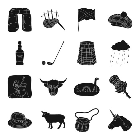 heather: Scotland country set icons in black style. Big collection of Scotland country vector symbol stock illustration Illustration