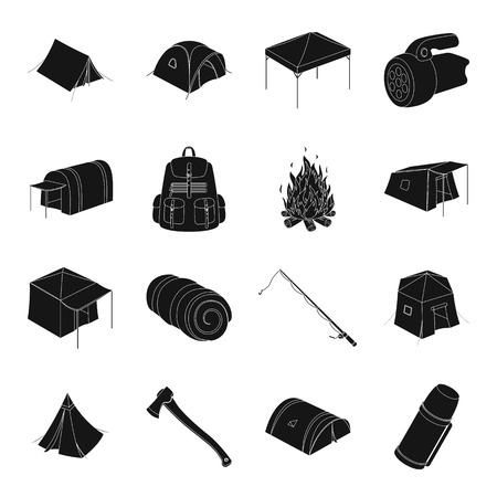 Various kinds of tents and other tourist accessories. The tent set collection icons in black style vector symbol stock illustration web.