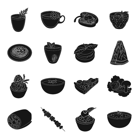 cottage cheese: Juice, pizza, berries are vegetarian dishes.Vegetarian Dishes set collection icons in black style vector symbol stock illustration web. Illustration