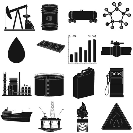 Oil rig, pump and other equipment for oil recovery, processing and storage.Oil set collection icons in black style vector symbol stock illustration web. Иллюстрация