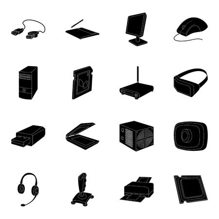 Accessoires d'ordinateur personnel définir des icônes dans le style noir. Grande collection d'accessoires informatiques personnels vector illustration stock symbole Vecteurs