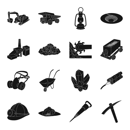 Excavator, jackhammer, helmet and other items for the mine. Mine set collection icons in black style vector symbol stock illustration web.